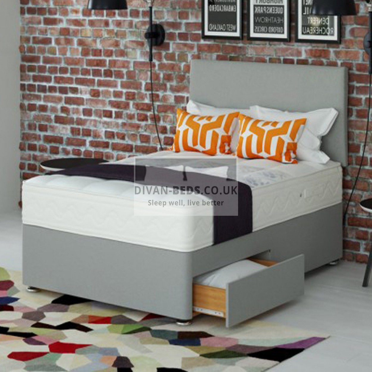 Alfie Divan Bed Set With High Density Open Spring Memory Foam Mattress Guaranteed Cheapest