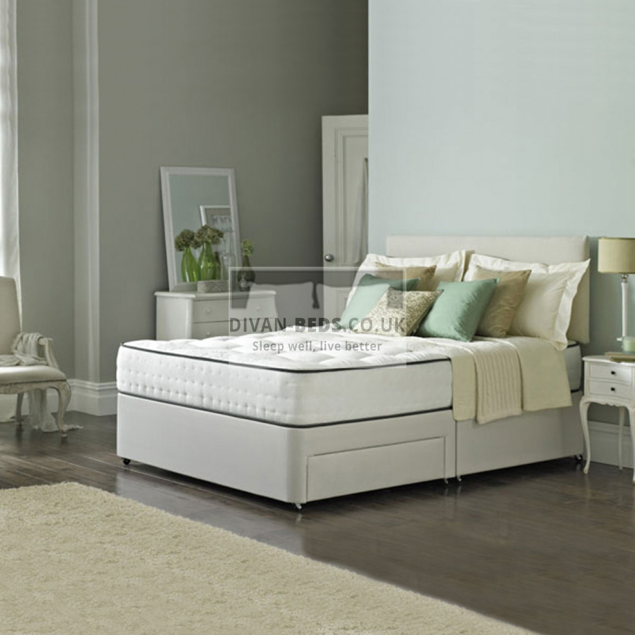Lambert Divan Fabric Bed With Orthopaedic Spring Memory Foam Mattress Guaranteed Cheapest