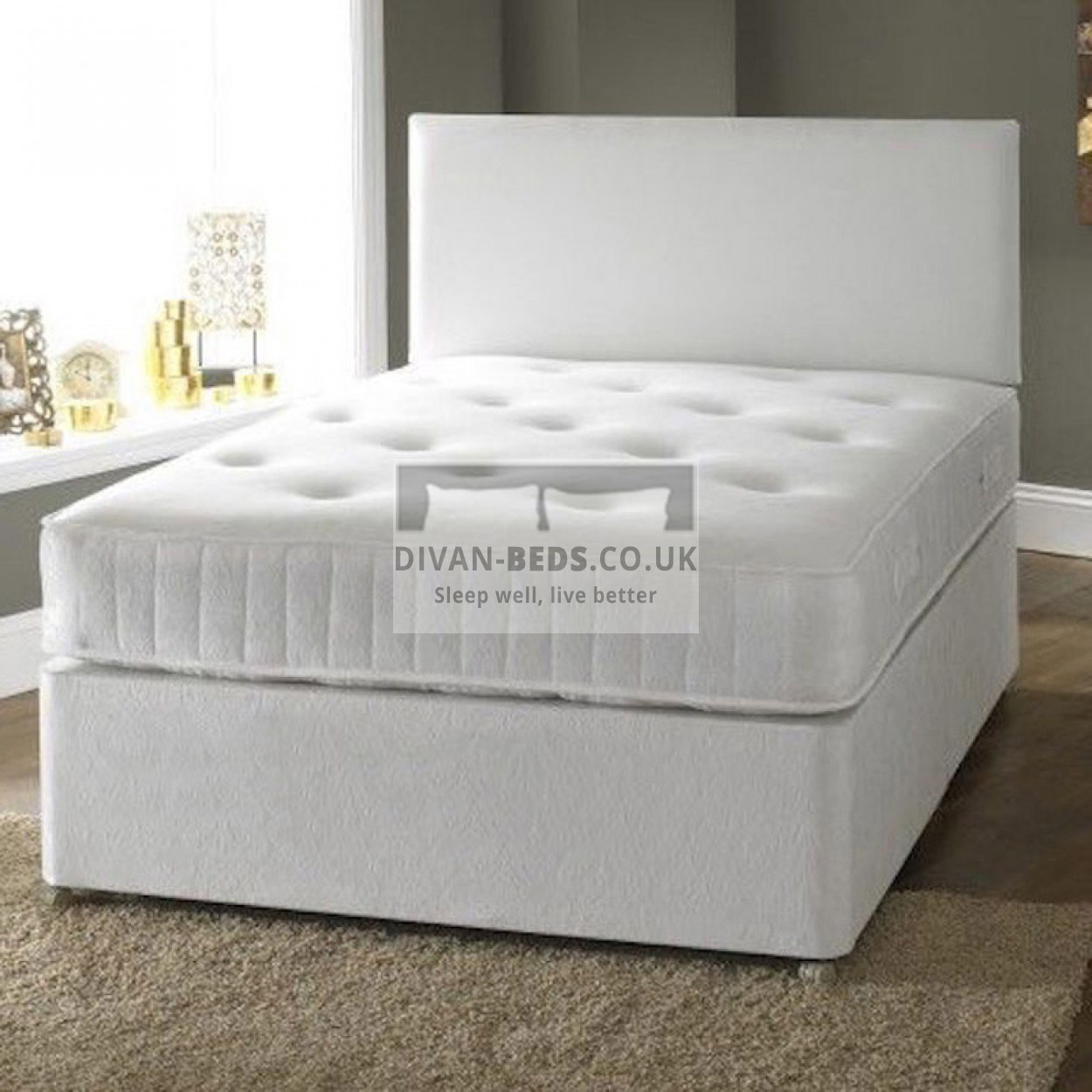 George Divan Fabric Bed with Luxury Hand-Tufted Damask Mattress ...