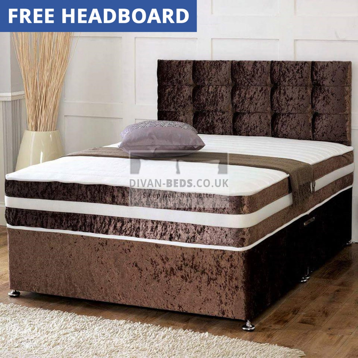 Crushed Velvet Divan Set With Matching Fabric Headboard And Memory Foam Mattress Guaranteed