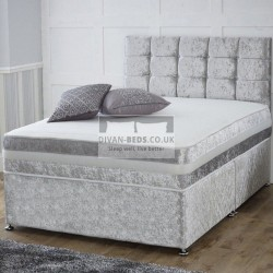 Crushed Velvet Divan Set with Matching Fabric Headboard and Memory Foam Mattress