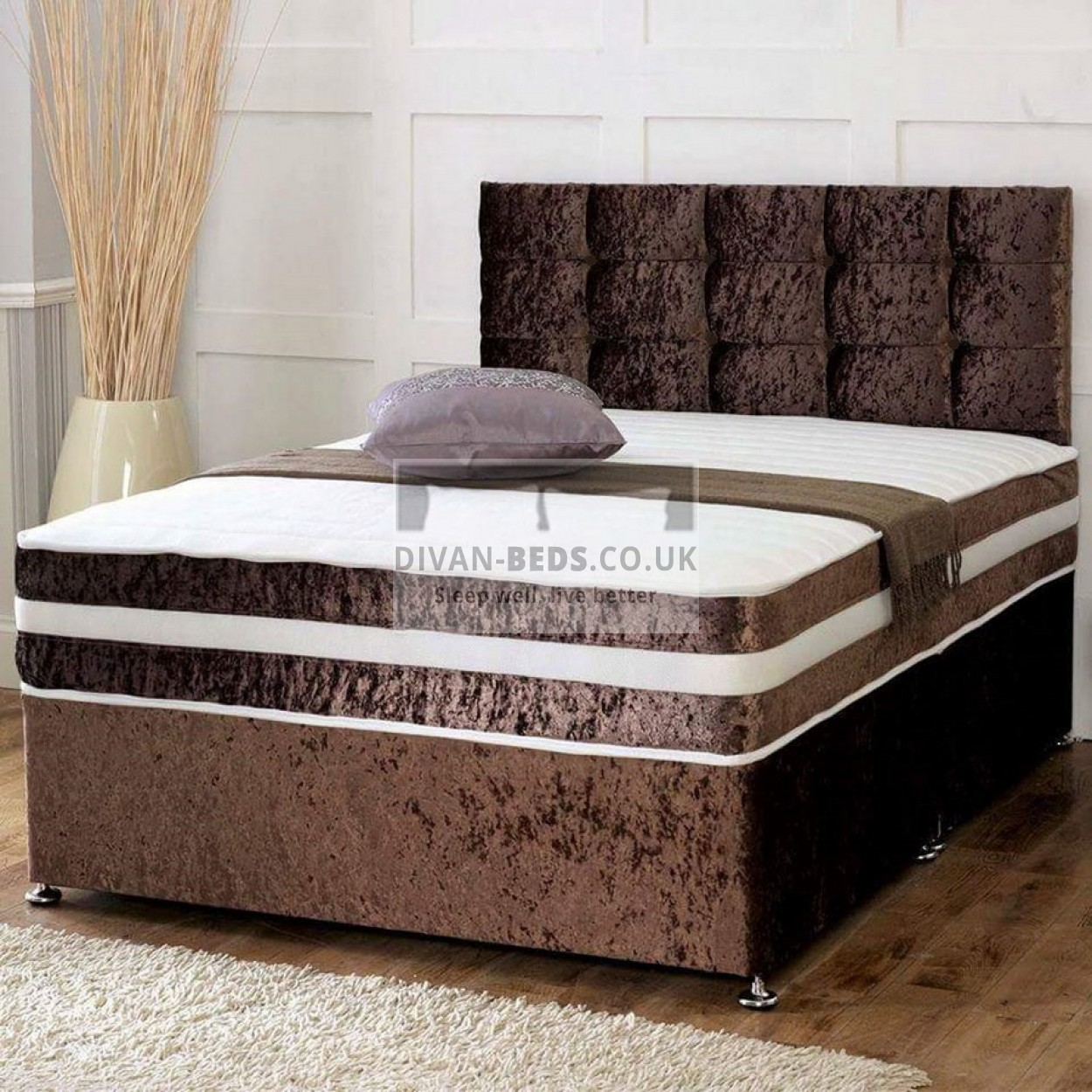 Brown crushed velvet divan set with matching fabric for Divan and mattress set