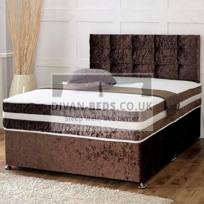 Brown crushed velvet divan set with matching fabric for Memory foam divan