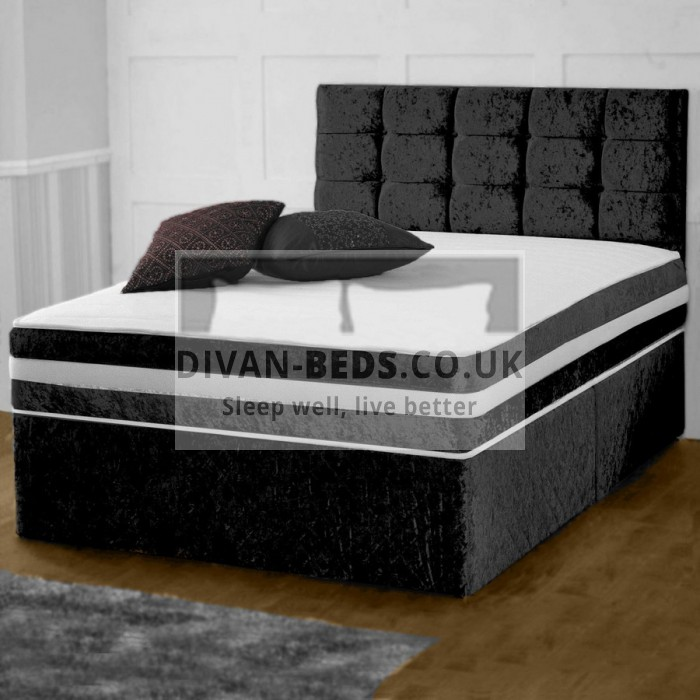 Darius House Crushed Velvet Divan Bed with 2000 Pocket Orthopaedic Mattress