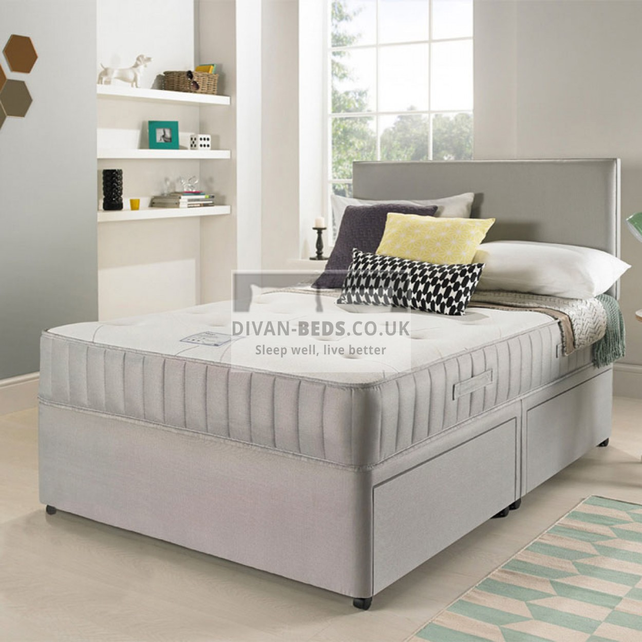 Egerton Divan Bed With Spring Memory Foam Mattress And Suede Headboard Guaranteed Cheapest
