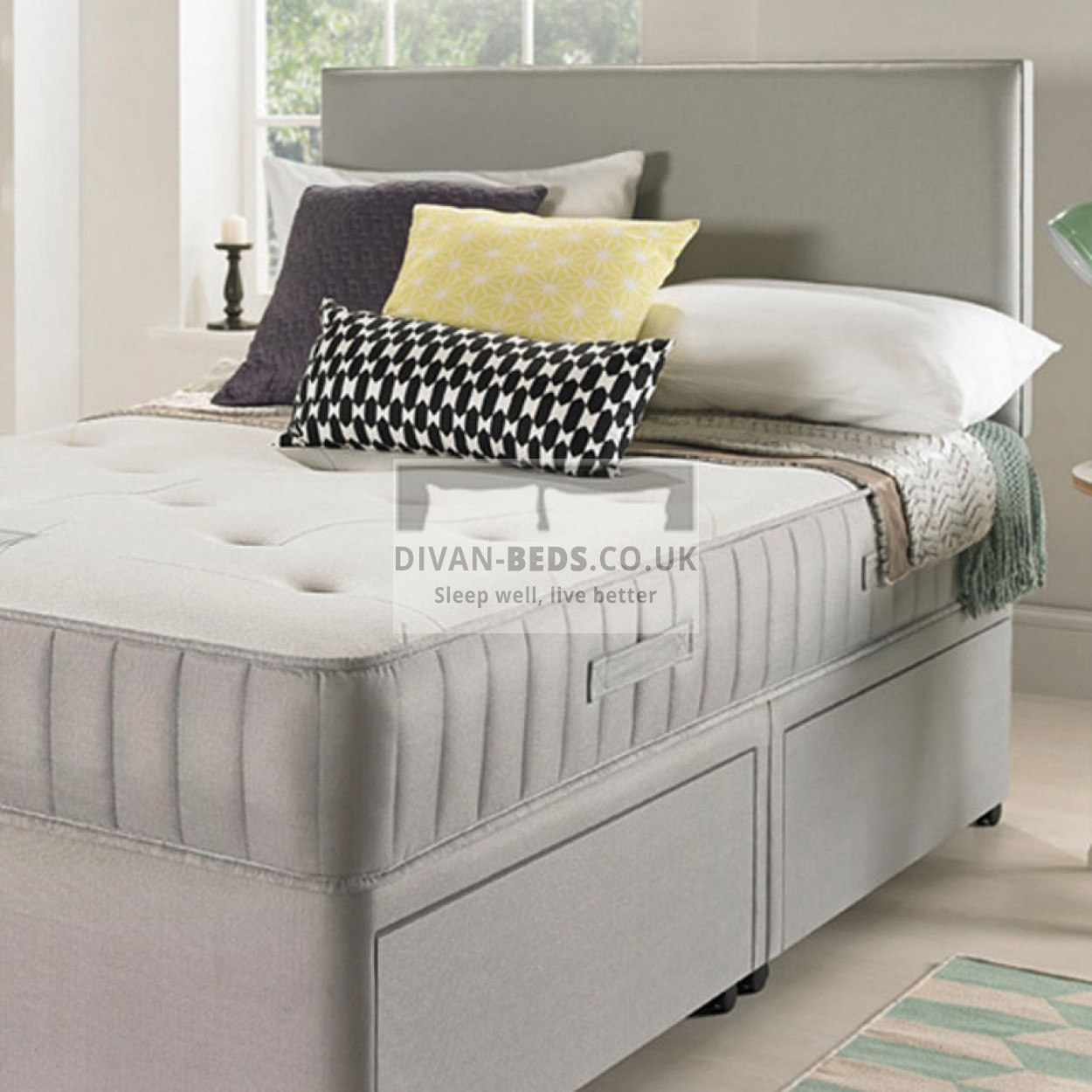 Egerton divan bed with spring memory foam mattress and for Divan headboard