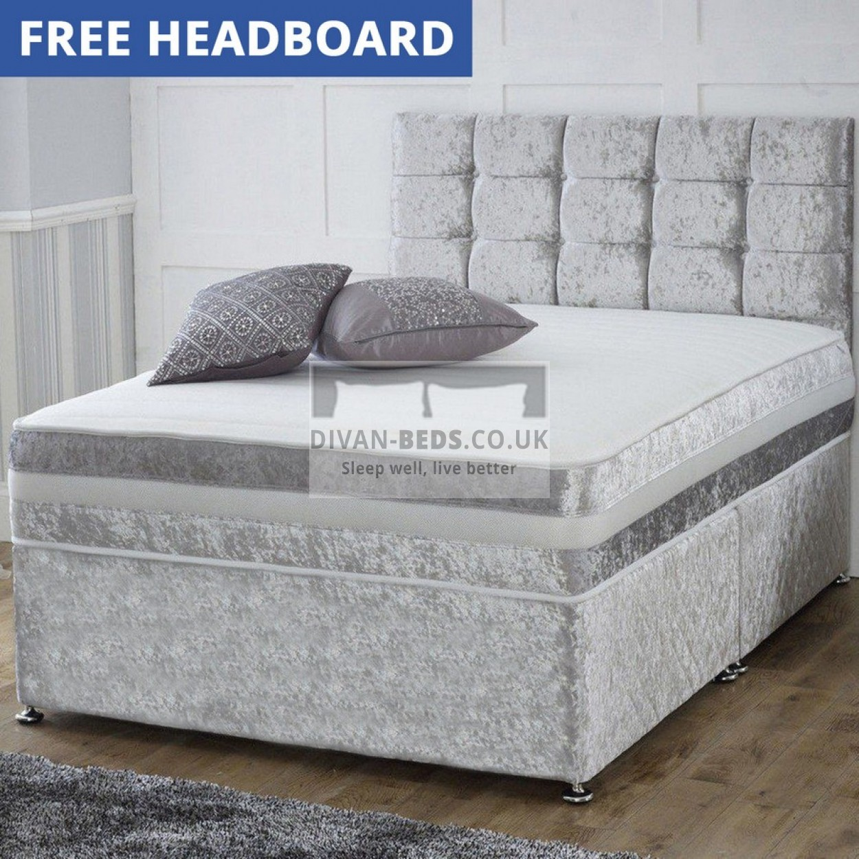 Patrick crushed velvet divan bed with 1500 pocket orthopaedic mattress guaranteed cheapest Bed divan