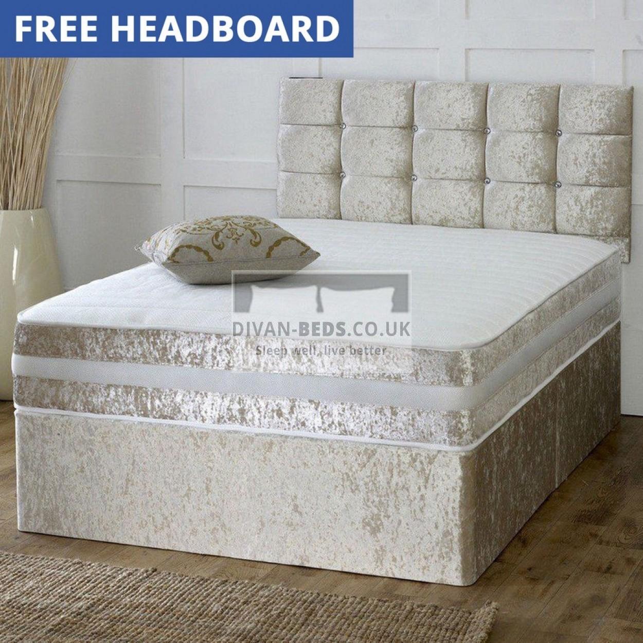 Patrick crushed velvet divan bed with 1500 pocket spring for Sprung base divan bed with storage