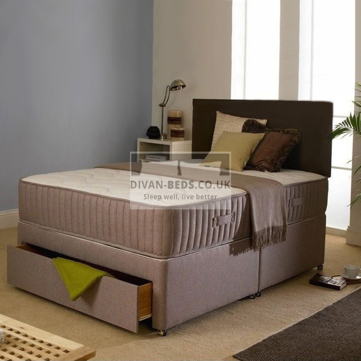 Malcolm divan bed with orthopaedic spring mattress for Orthopedic divan beds