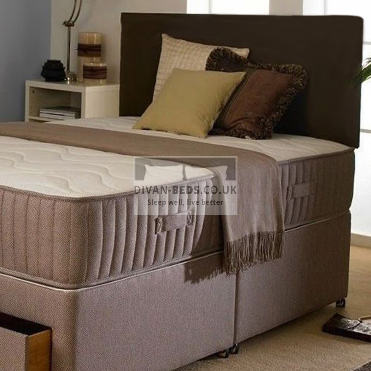 Marlo divan bed with orthopaedic spring mattress for Orthopedic divan beds