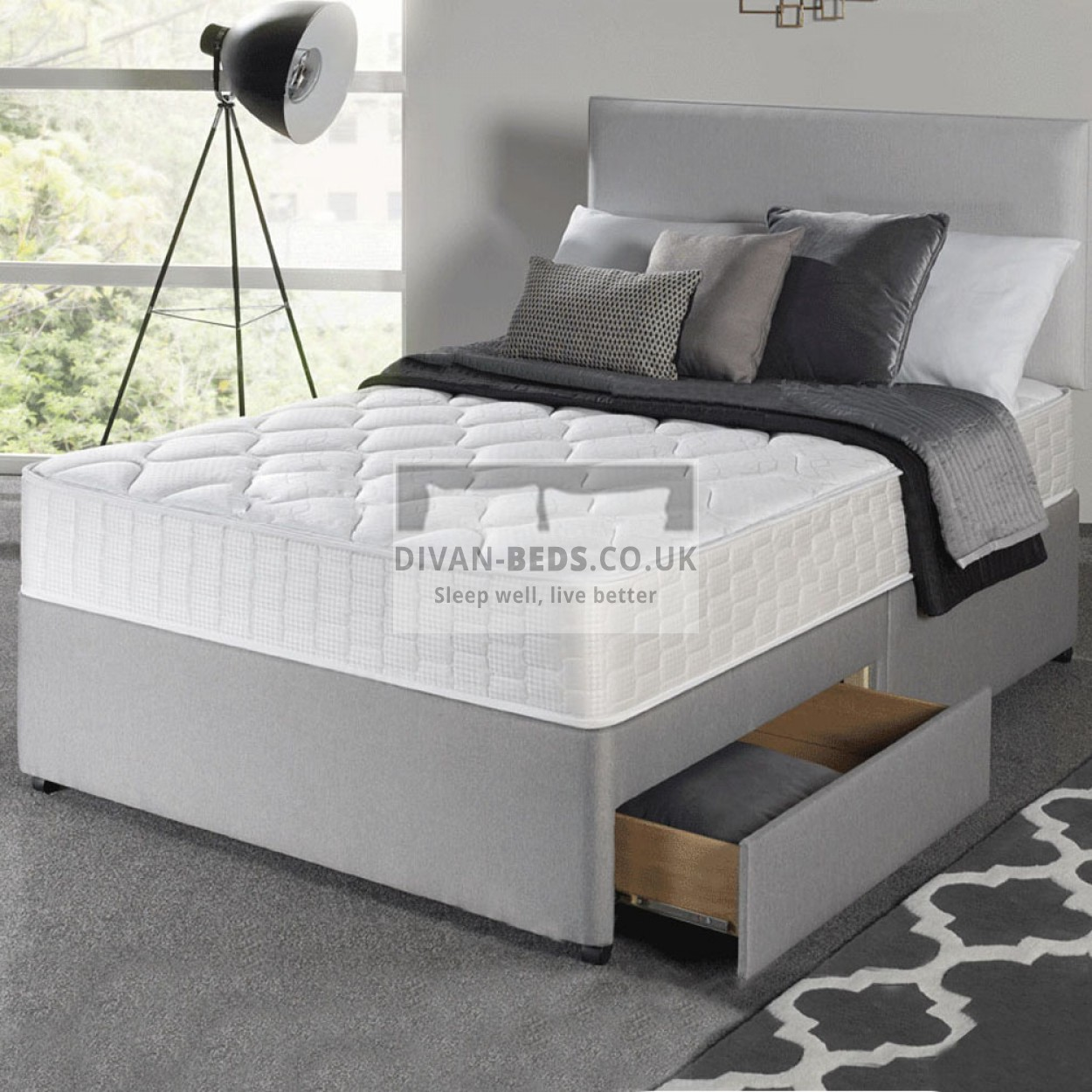 Romney Grey Divan Bed With Spring Memory Foam Mattress