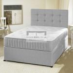 Romney Grey Divan Bed with Spring Memory Foam Mattress