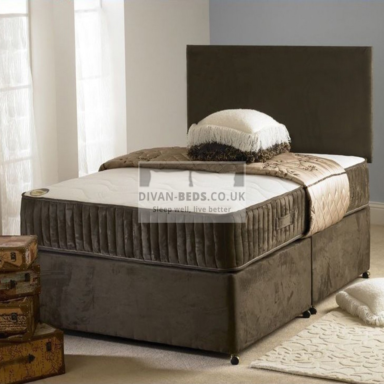 Carlo divan bed with spring memory foam mattress for Divan bed quick delivery
