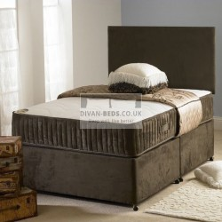 Carlo Chocolate Suede Divan Bed with Dual Medium Spring Memory Foam Mattress
