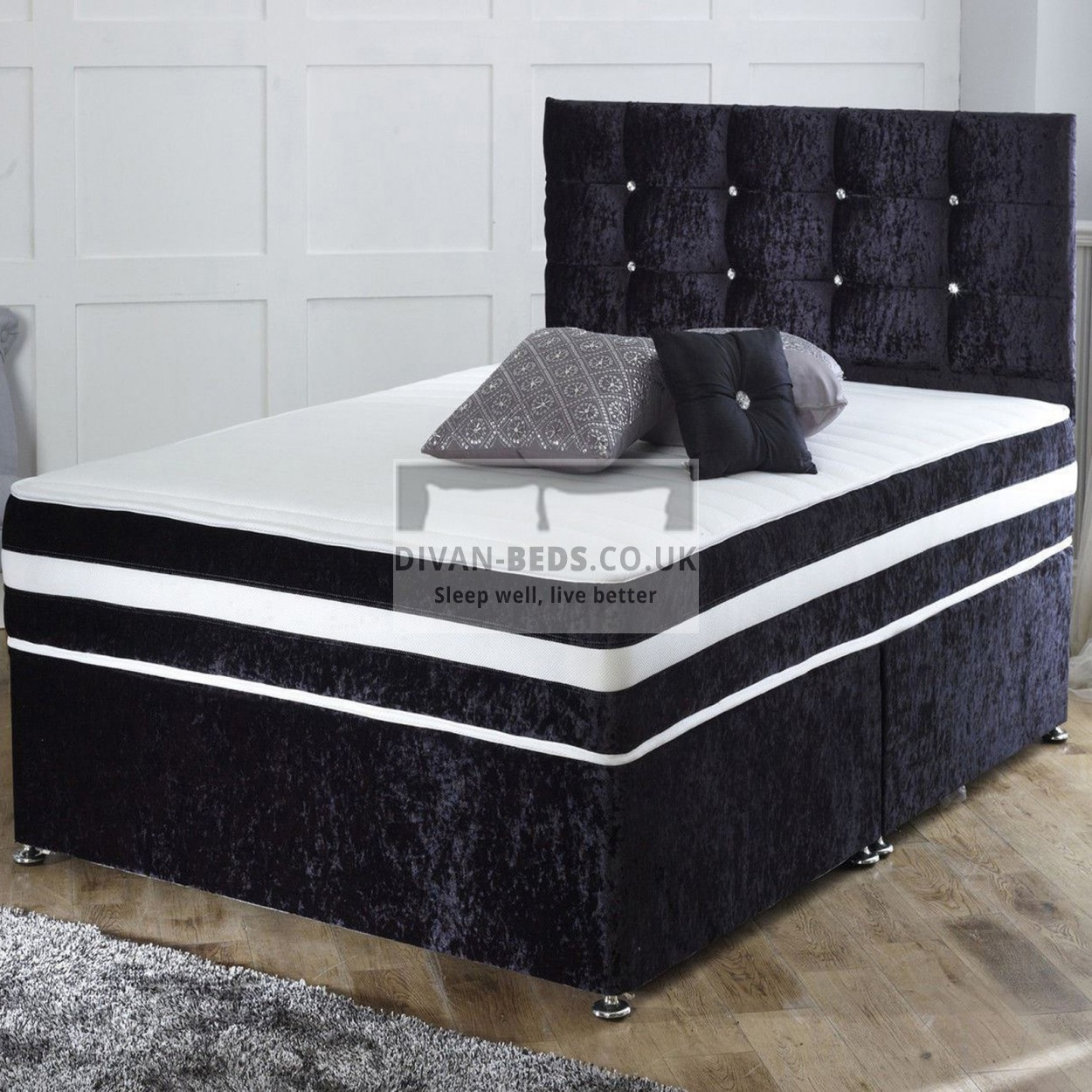 richard crushed velvet divan bed with orthopaedic spring