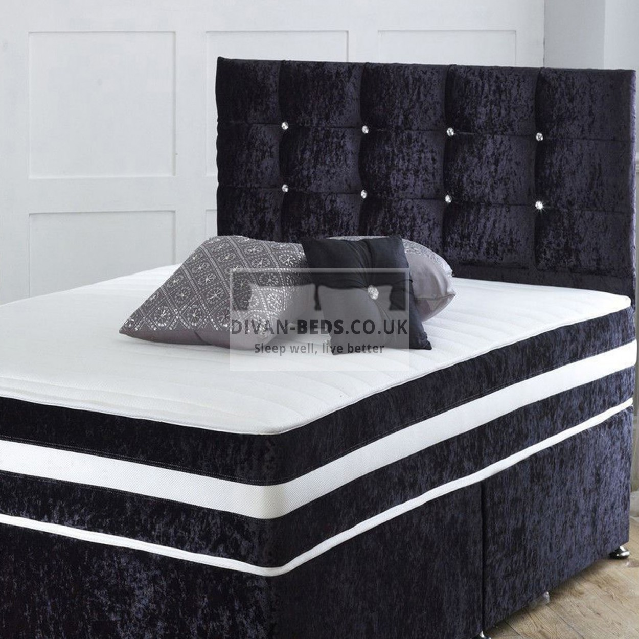 Richard Crushed Velvet Divan Bed With Orthopaedic Spring Mattress Guaranteed Cheapest Free