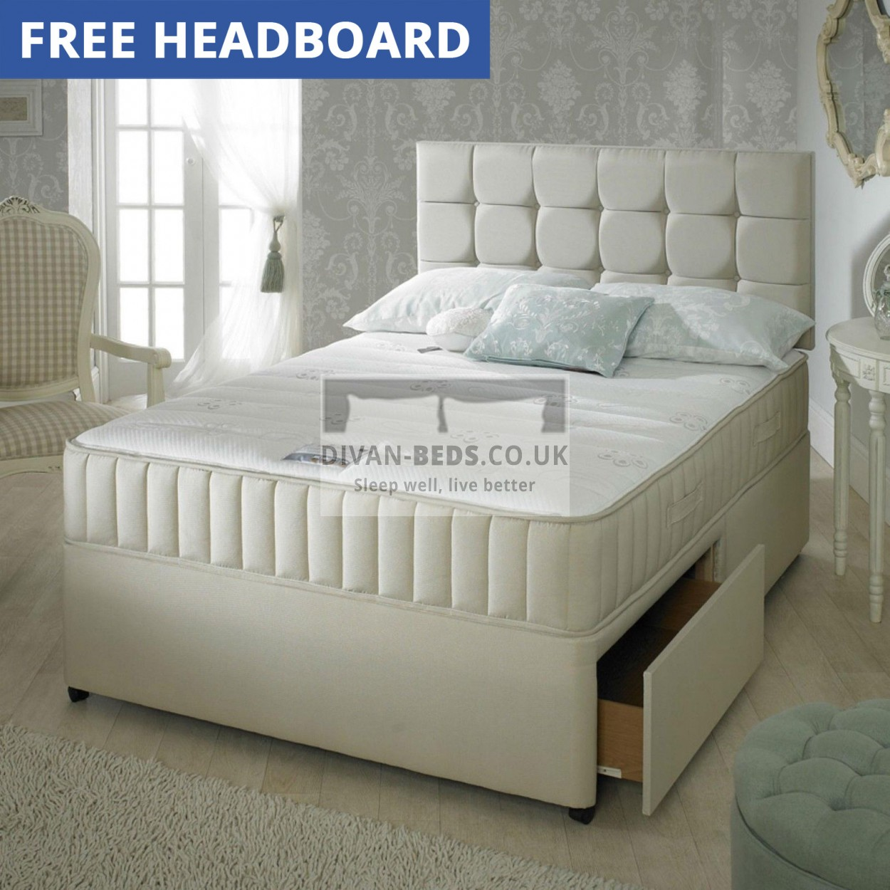 Carlton leather divan bed with 1500 pocket spring memory for Memory foam divan bed