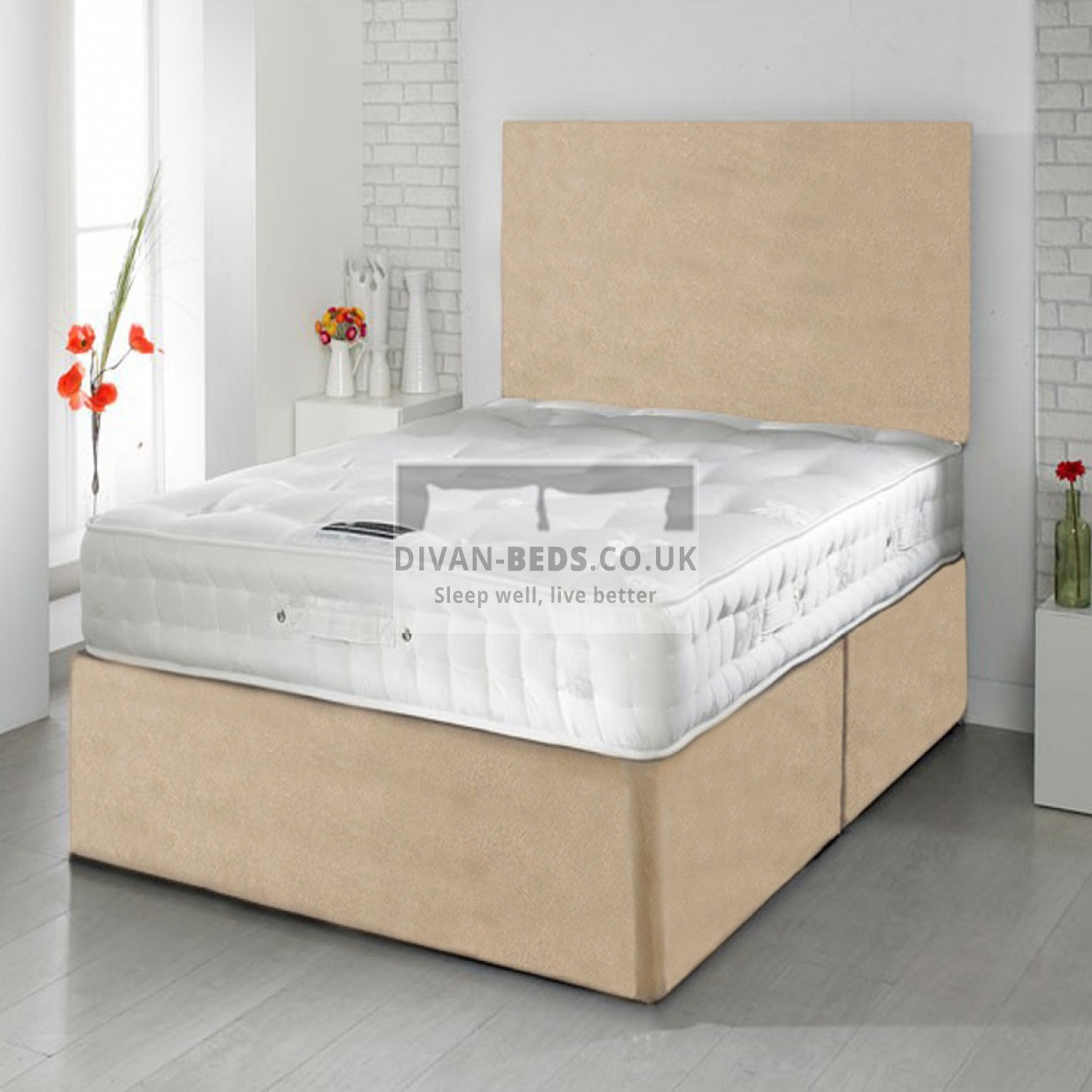 Rupert divan bed with 1500 pocket spring memory foam for Divan bed with memory foam mattress