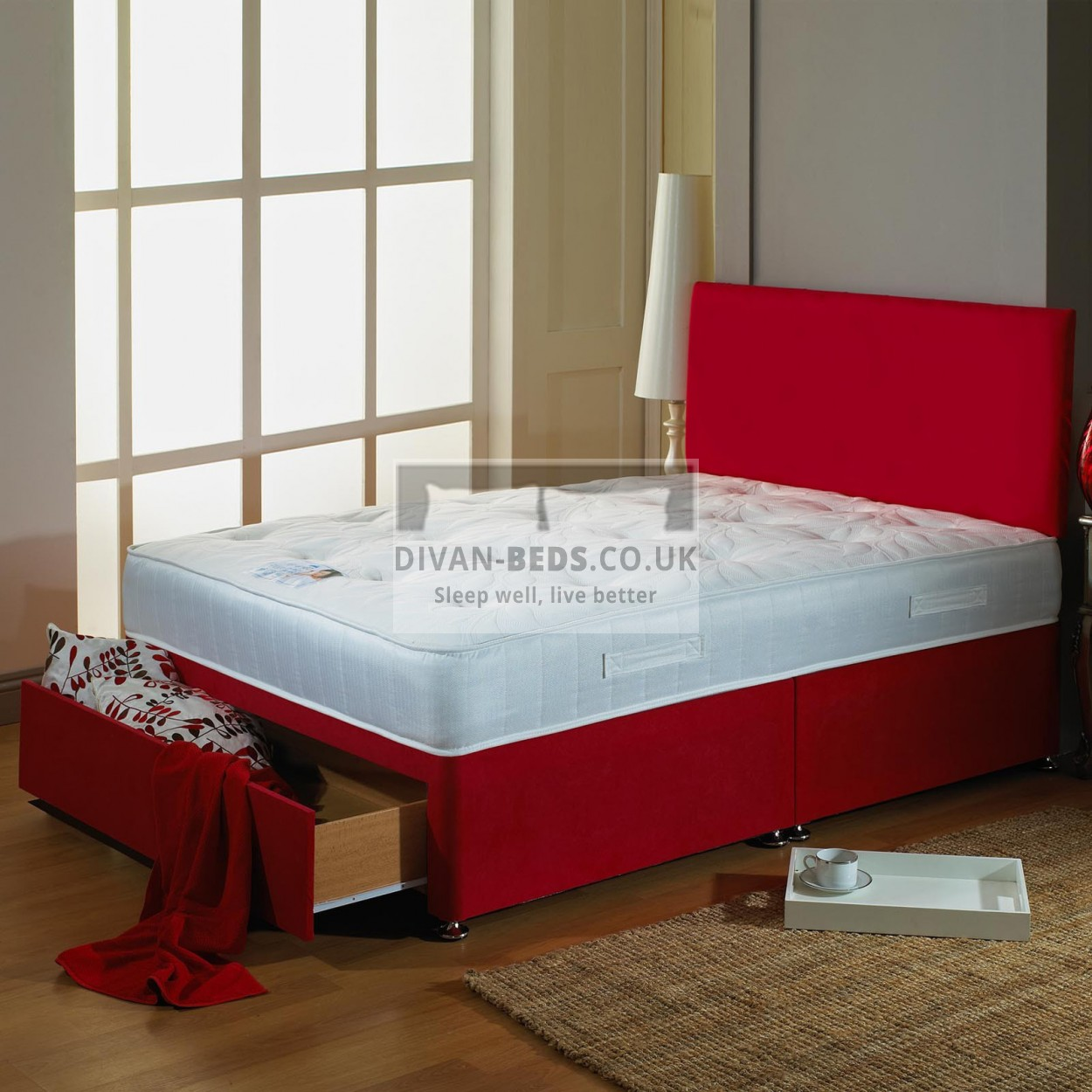 juliet divan bed with high density open spring memory foam mattress