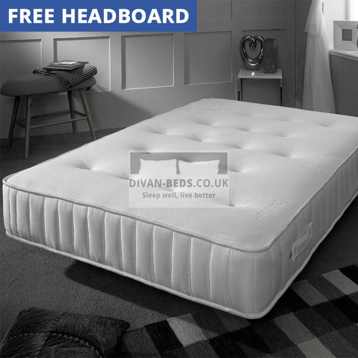 Hilliard leather divan bed with 2000 pocket spring for Divan bed with memory foam mattress