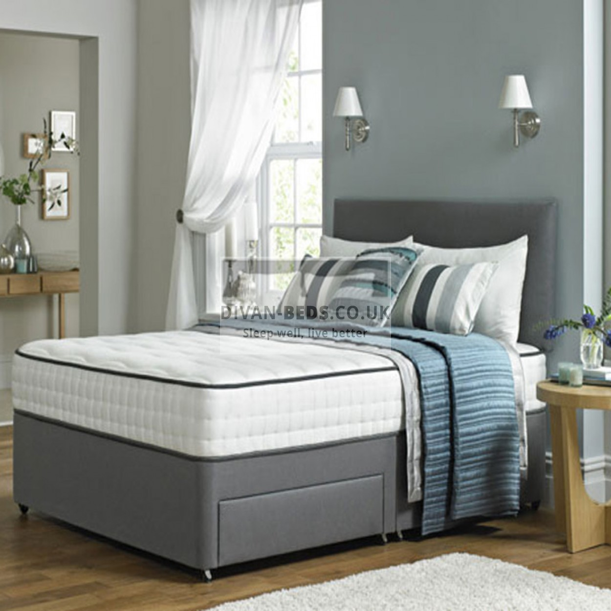 lisa leather divan bed with spring memory foam mattress