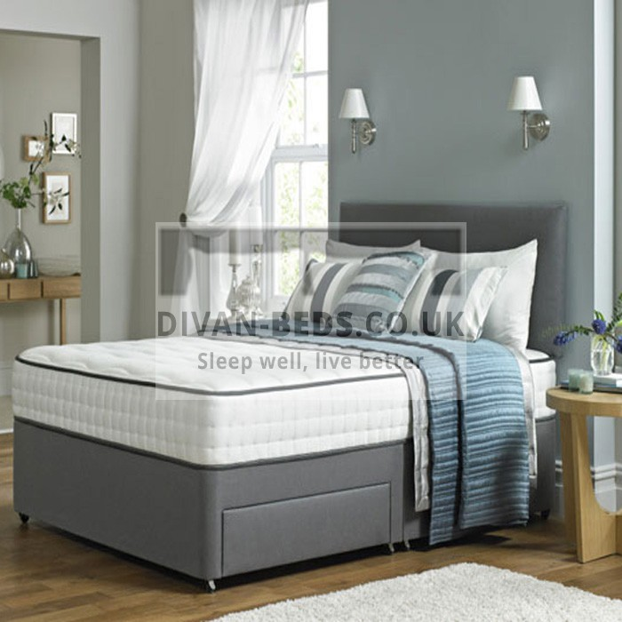 Lisa leather divan bed with spring memory foam mattress for Divan bed with drawers
