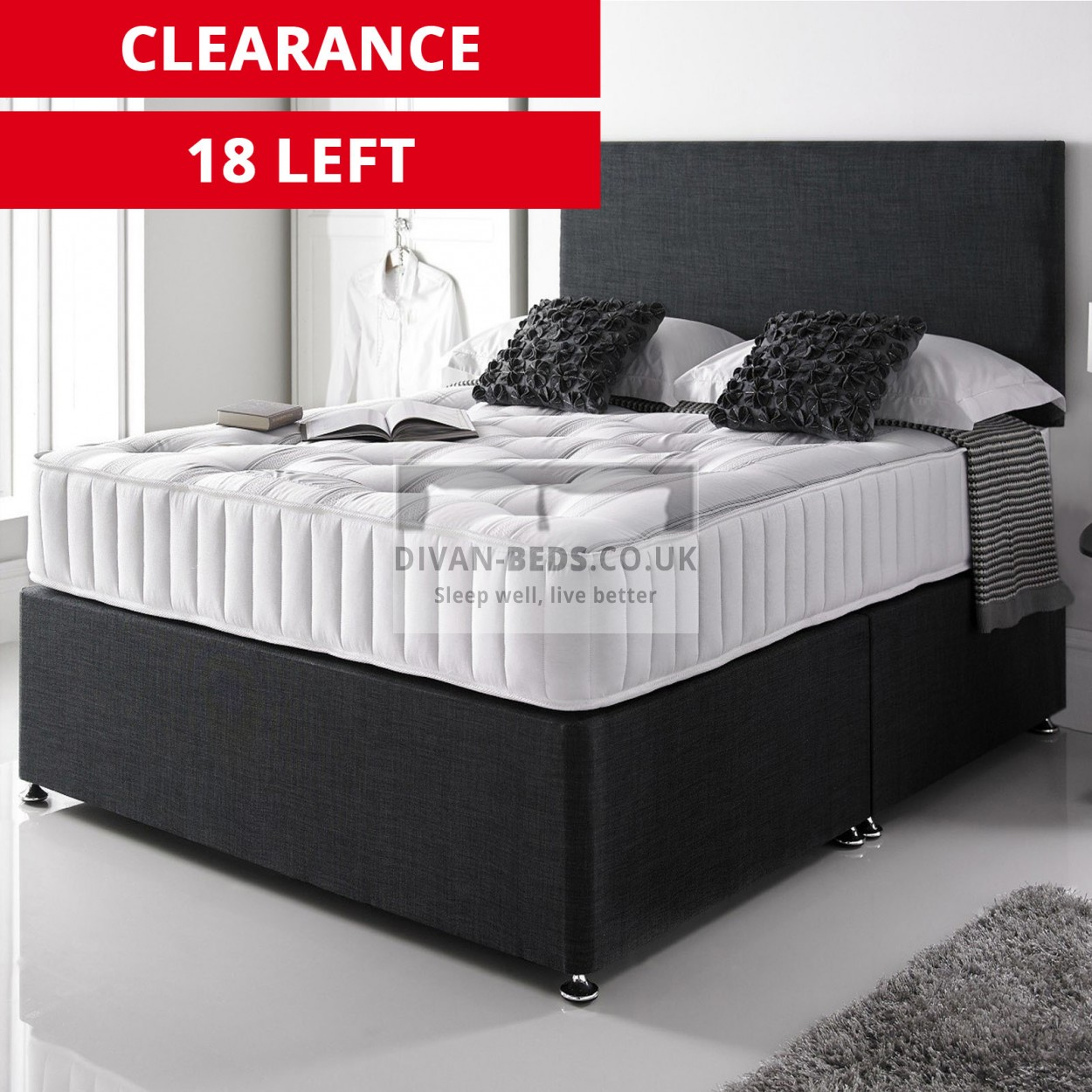giles divan bed with 3000 pocket spring memory foam. Black Bedroom Furniture Sets. Home Design Ideas