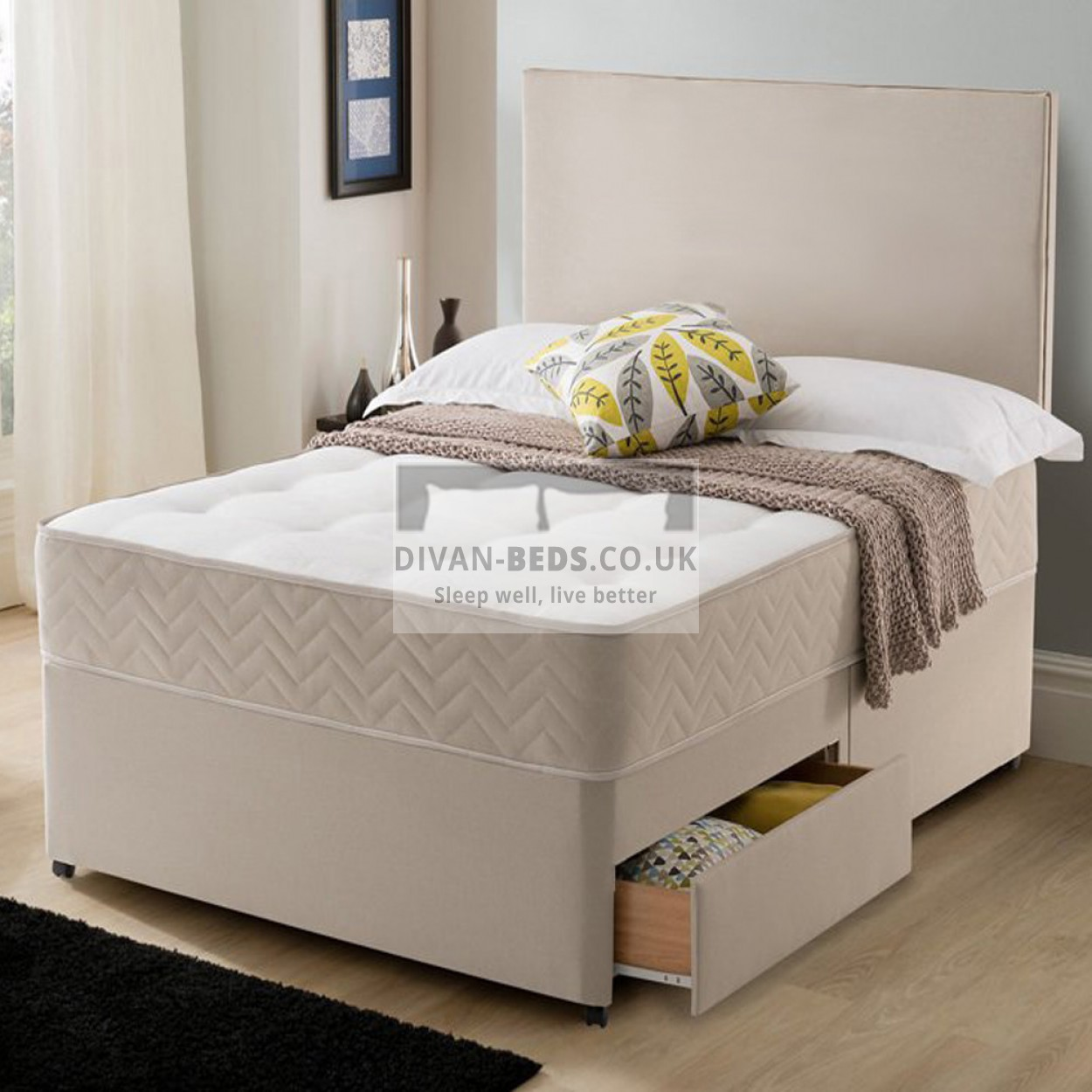 Callum stone suede divan bed with spring memory foam for Mattress with divan