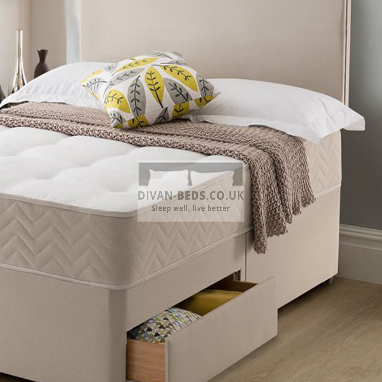 Callum stone suede divan bed with spring memory foam for Memory foam divan bed