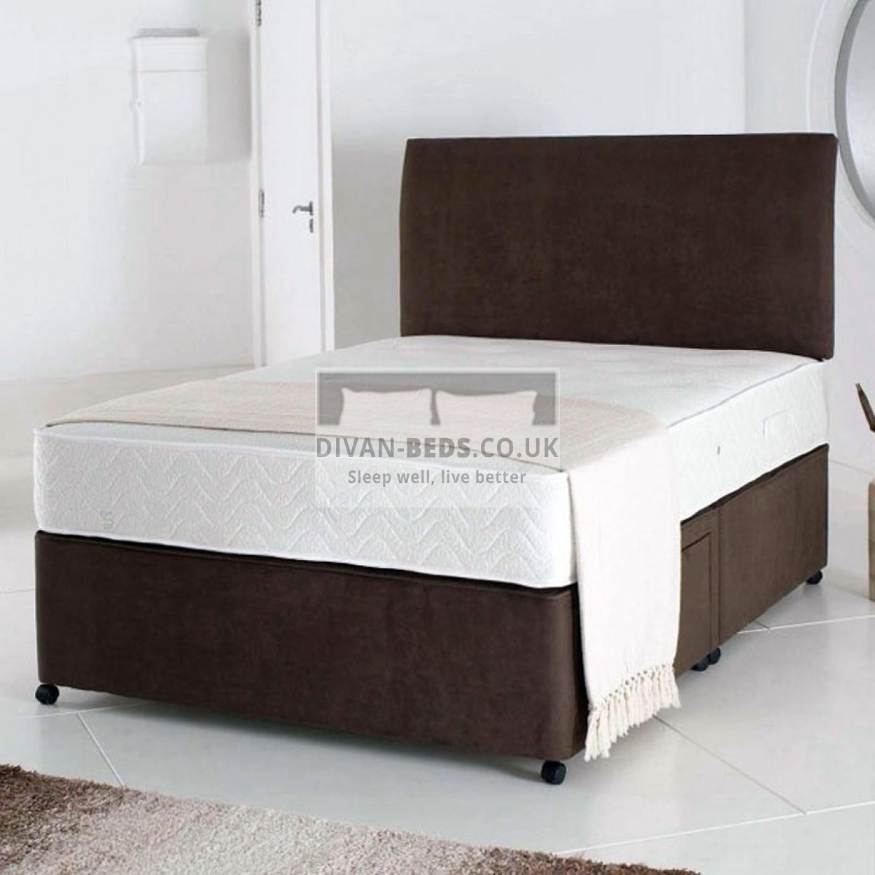 Lando leather divan bed with airflow memory foam spring for Divan bed quick delivery