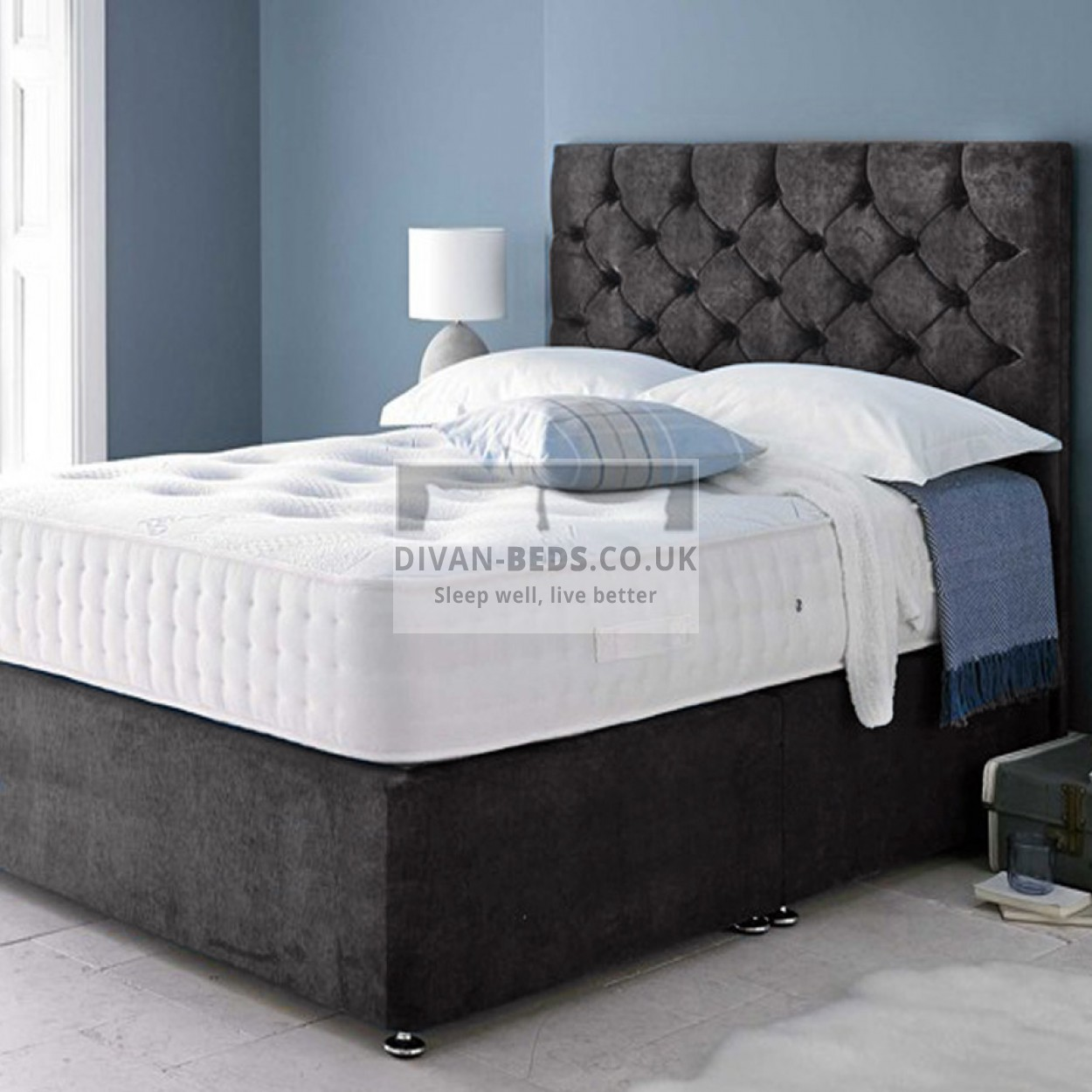 Hermes soft velour divan bed with 1500 pocket spring for Divan bed with memory foam mattress