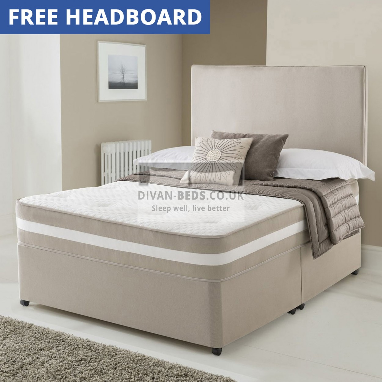 Clyde divan bed with quilted spring memory foam mattress for Mattress with divan