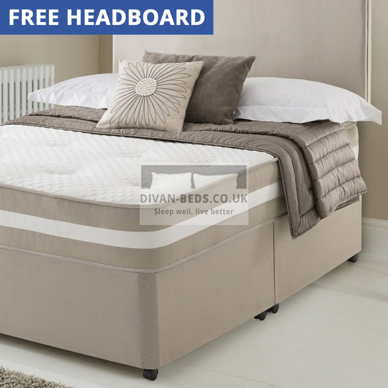 Clyde divan bed with quilted spring memory foam mattress for Memory foam divan bed