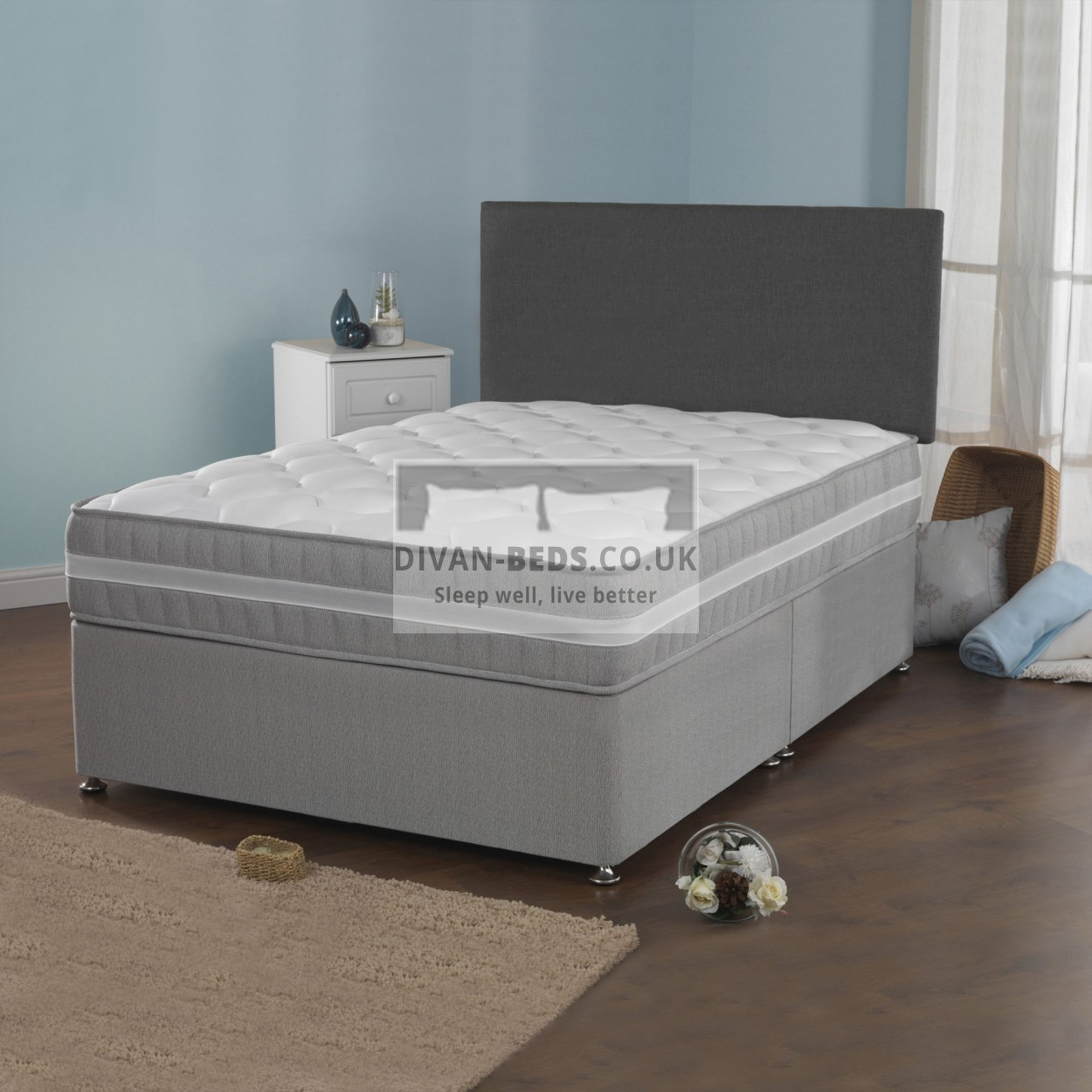 Benjamin divan bed with 2500 pocket spring quilted for 5ft divan bed base
