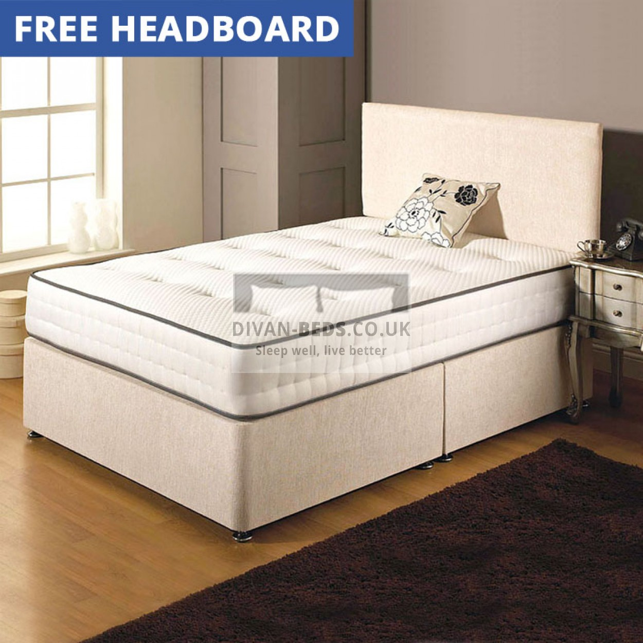 Charlie Divan Bed With Spring Memory Foam Mattress Guaranteed Cheapest Free Fast Delivery