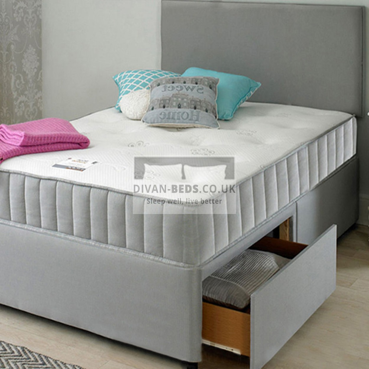 Wallace divan bed with spring memory foam mattress for Grey divan bed base