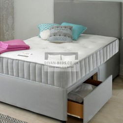Chelsea Grey Fabric Divan Set with Headboard and Comfort Spring Memory Foam Mattress