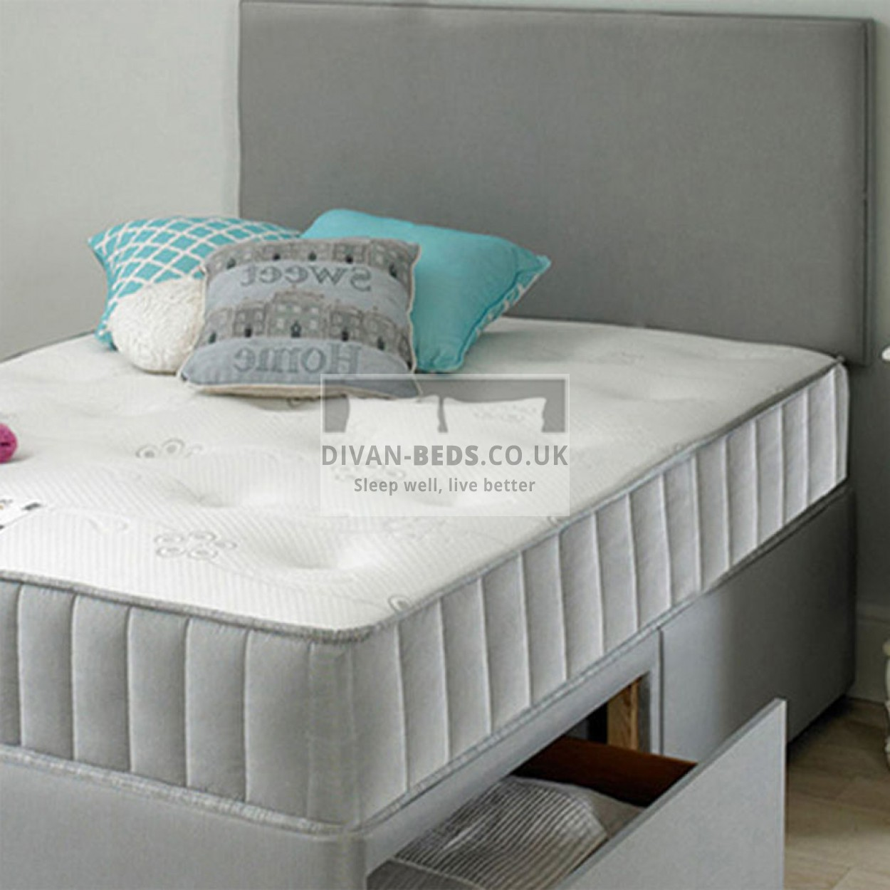 Wallace divan bed with spring memory foam mattress for Fabric divan beds
