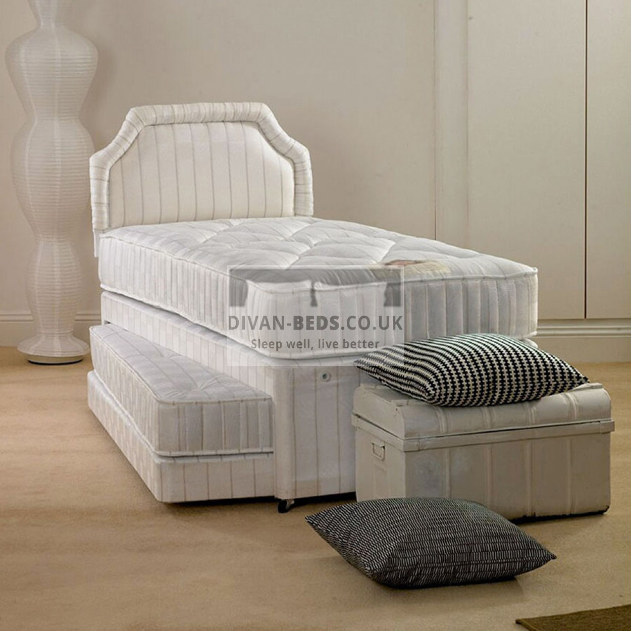 Duncan single divan 2 in 1 guest bed with mattresses for Single divan and mattress