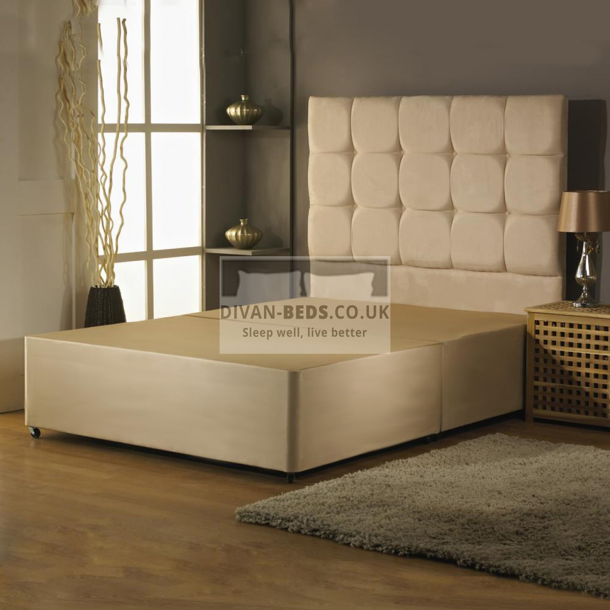 Alastair suede divan bed base with headboard options for Low divan bed base