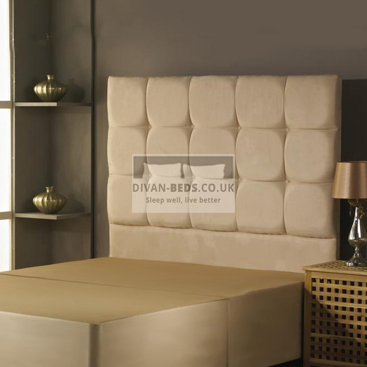 Alastair suede divan bed base with headboard options for Divan mattress base