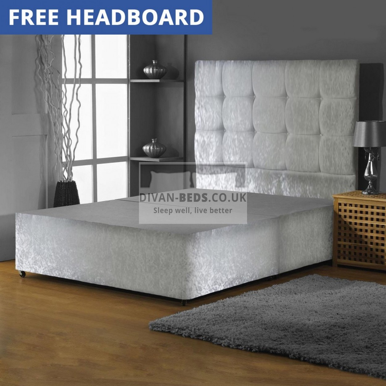 Crushed velvet divan bed base with high buttoned headboard for Divan bed quick delivery