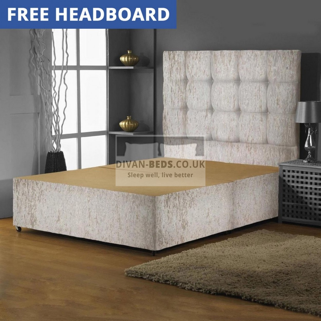 Crushed velvet divan bed base with high buttoned headboard for Divan mattress base