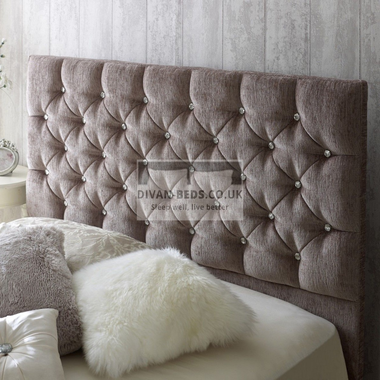 Dina diamonte fabric upholstered bed frame guaranteed for Upholstered bedframes