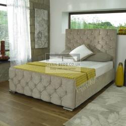 Hermes Diamond Fabric Upholstered Bed Frame