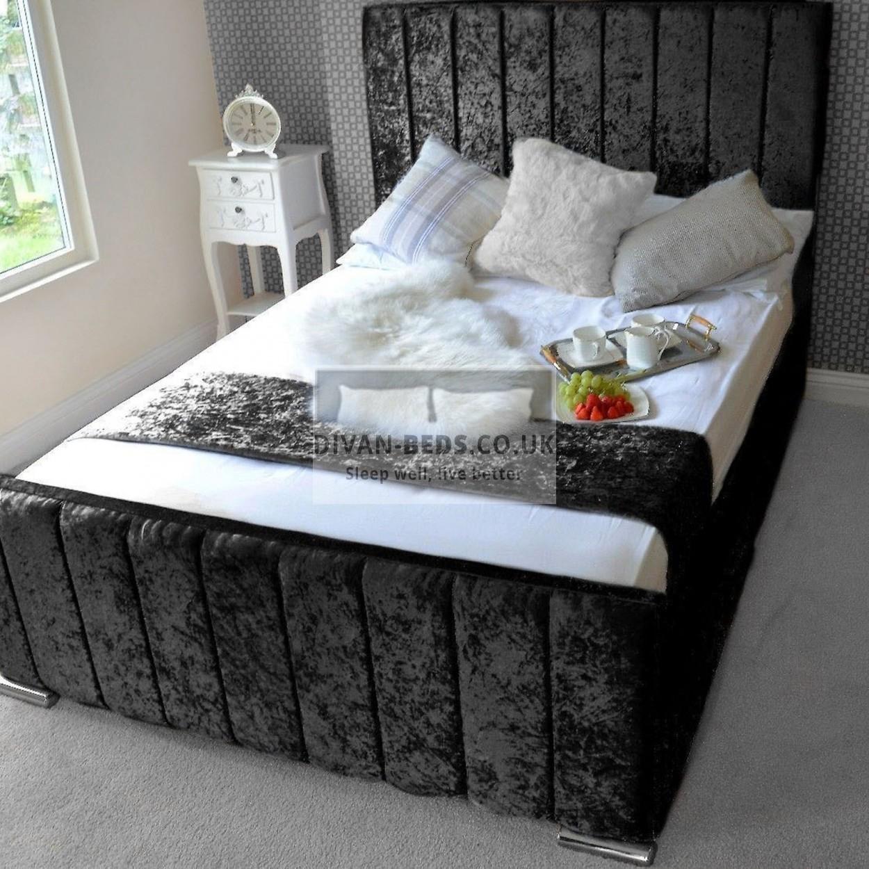innovative design ca812 a79c9 Vivienne Luxury Crushed Velvet Upholstered Bed Frame