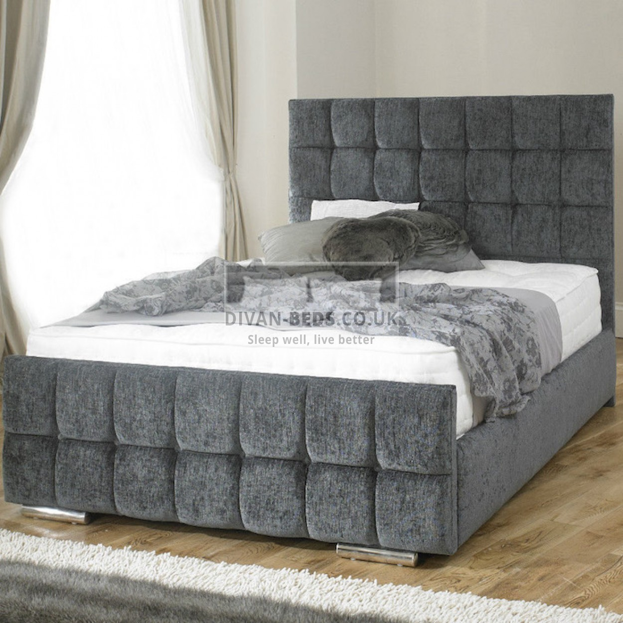 Renata cube fabric upholstered bed frame guaranteed for Divan bed sets with headboard