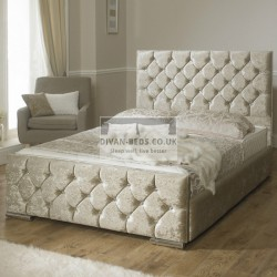 Clara Diamond Crushed Velvet Fabric Upholstered Bed Frame