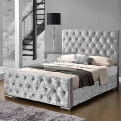 Buckingham Crushed Velvet Fabric Bed Frame