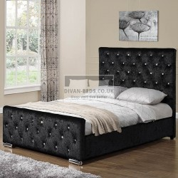 Beaumont Diamante Crushed Velvet Upholstered Bed Frame